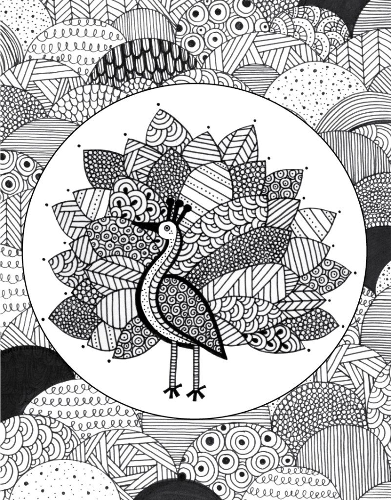 Peacock + doodle coloring page