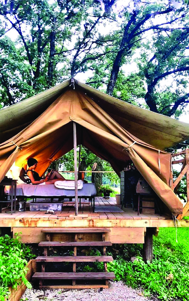 Glamping tent at Luna Valley Farm