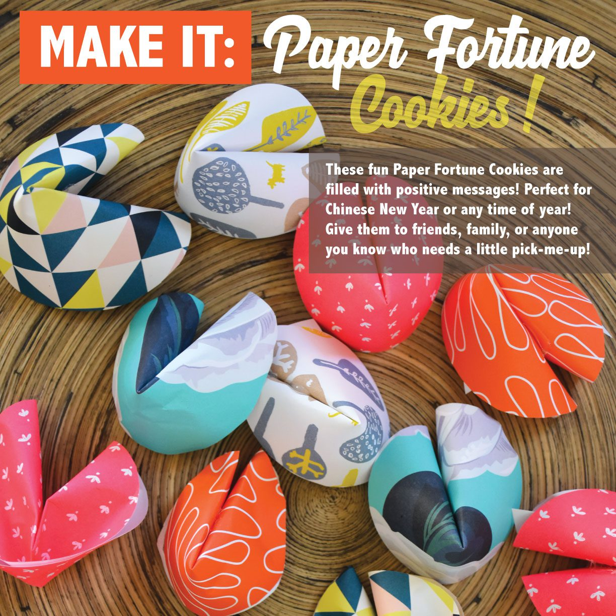 Learn how to make paper fortune cookies!