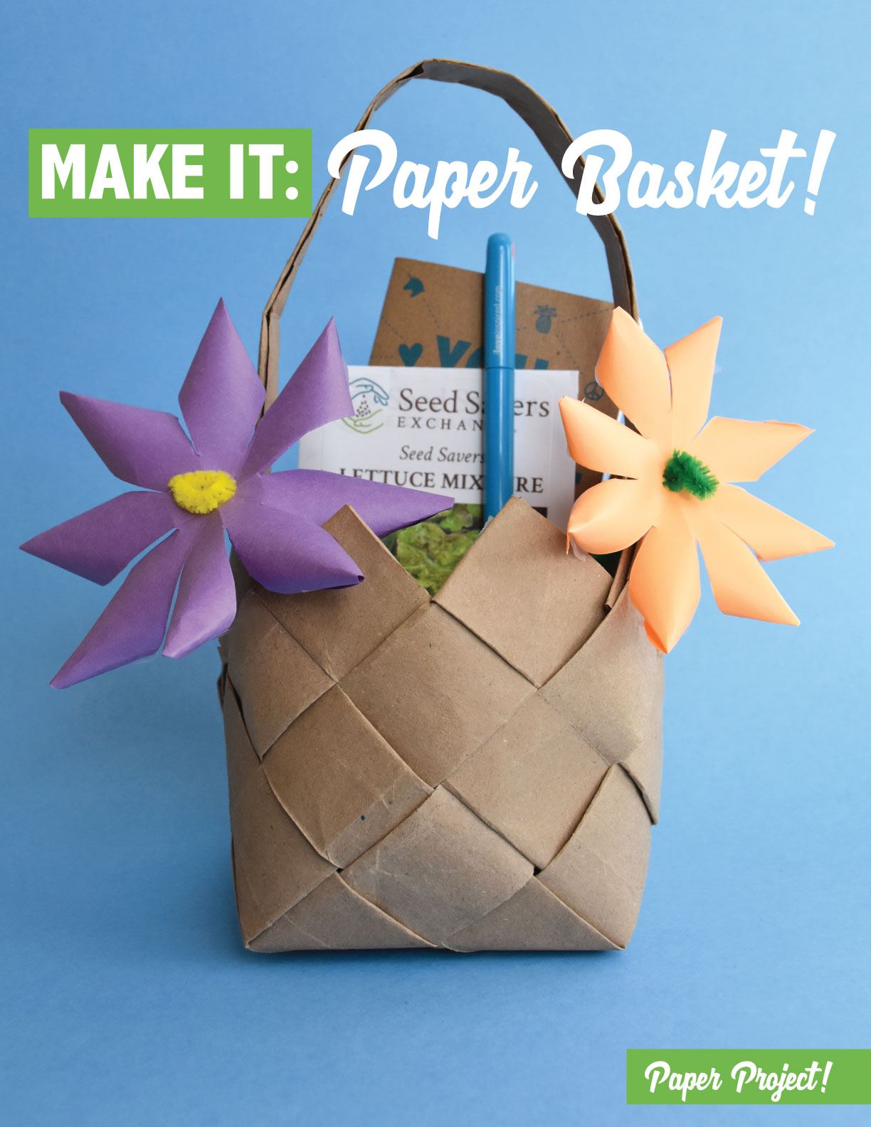 Learn how to make a paper basket out of a grocery sack!