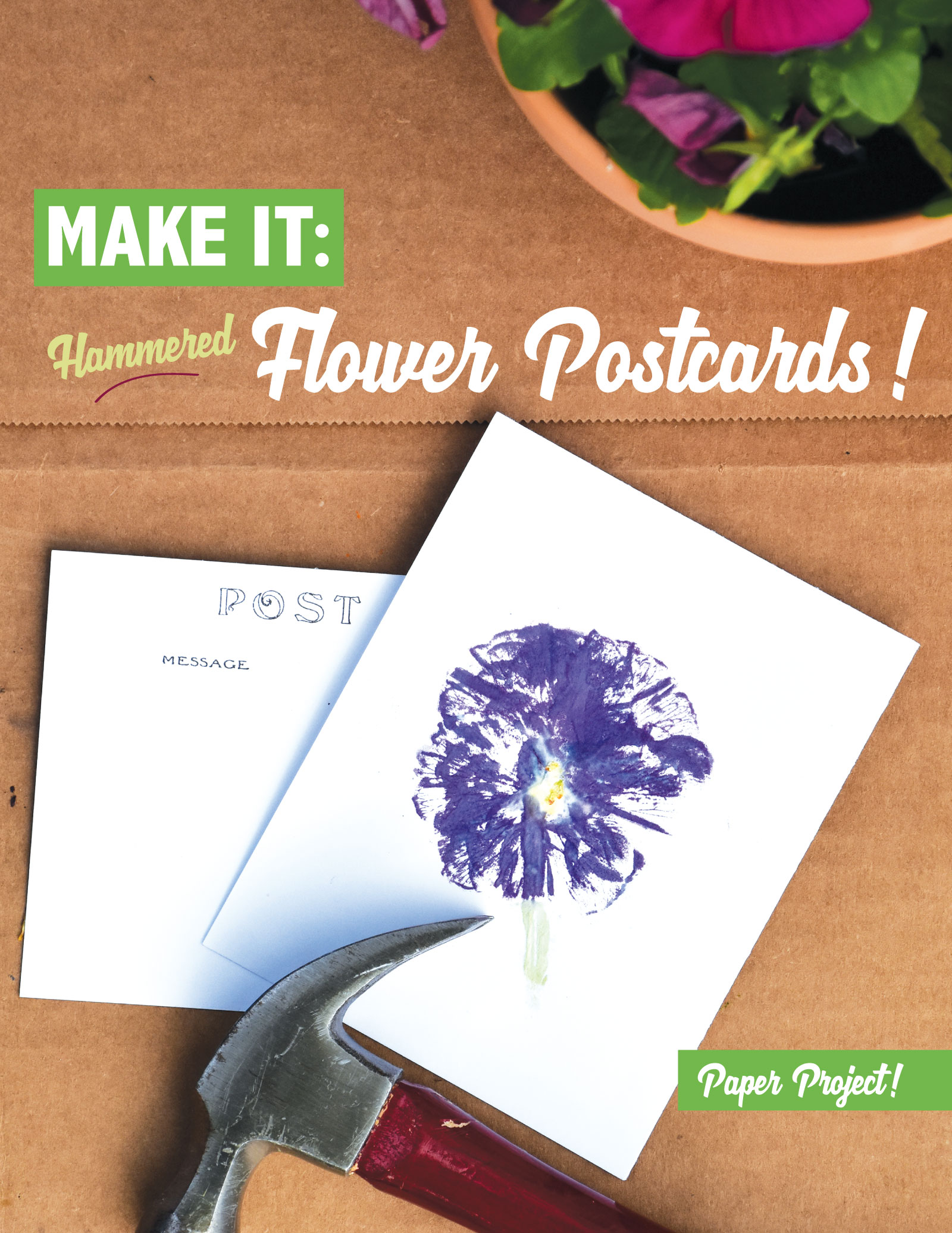 Learn how to make these Hammered Flower Postcards!